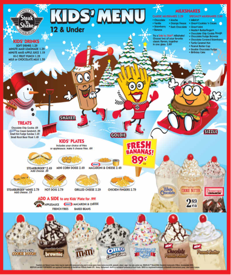 Steak and Shake Kids Menu