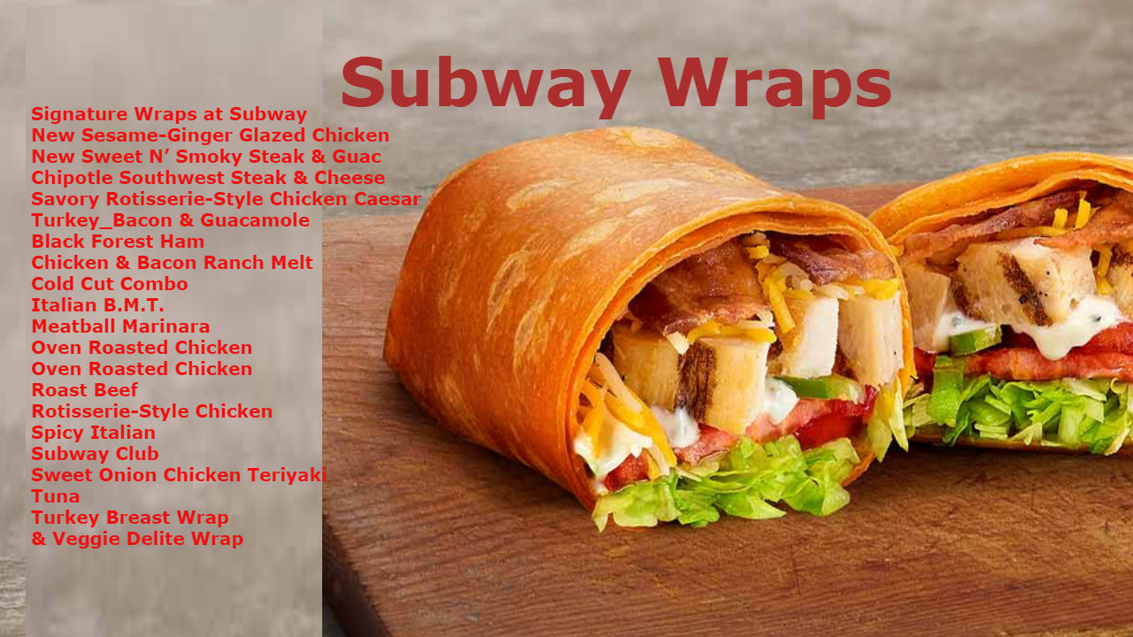 Subway Wrap Calories